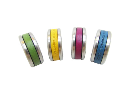 Antonio Ben Chimol Mens Infinity Steel and Leather Rings
