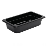 Black Polycarbonate Food Pan 1/4 Size 65mm & Lid Cover