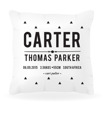 Birth Announcement Boys Cushion Cover