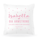 Birth Announcement Girls Cushion Cover