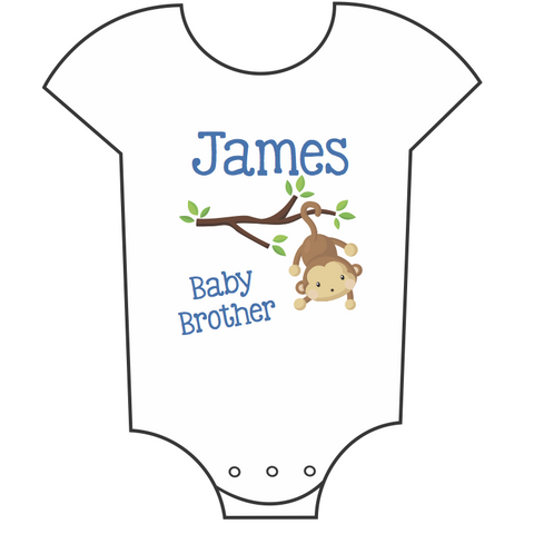 """Baby Brother - Monkeys"" Customisable Name Babygrow"