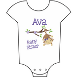 """Baby Sister - Monkeys"" Customisable Name Babygrow"