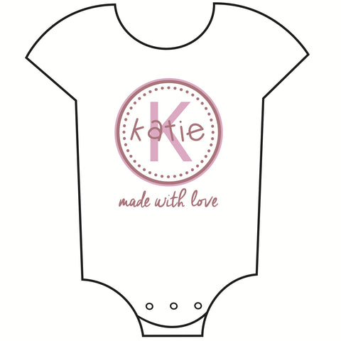 """Made with Love"" Customisable Name Girls Babygrow"