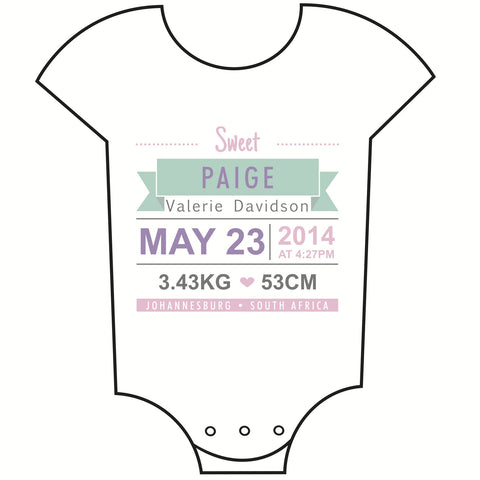 """Birth Announcement"" Girl Babygrow"