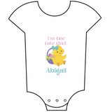 """Cute Chick"" Customisable Name Babygrow"