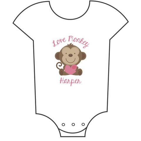 """Love Monkey"" Customisable Name Babygrow"