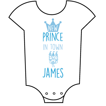 """New Prince in Town""  Customisable Name Babygrow"