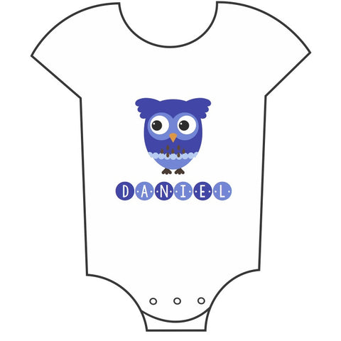 """Owl"" Customisable Name Boys Babygrow"
