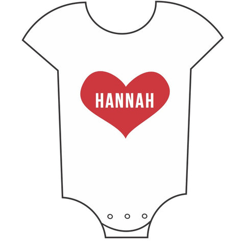 """Heart"" Customisable Name Babygrow"