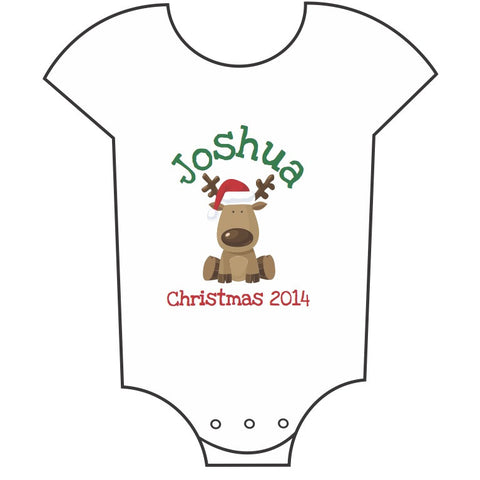 """Little Reindeer"" Customisable Name Babygrow"
