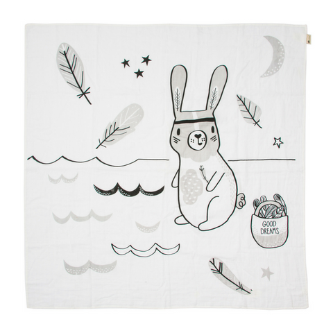 River KippinTale™ Organic Cotton Story-Print Muslin Wrap