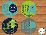 """Little Monsters"" - Babygrow Month Stickers"