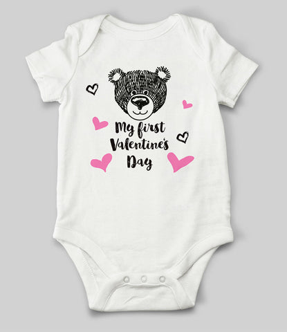 """My First Valentine Bear"" Babygrow"