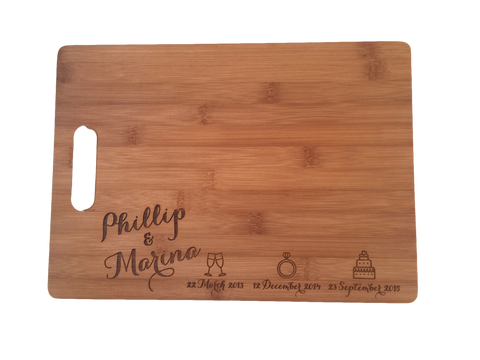 Bamboo Cut Out Handle Chopping Board - Personalised