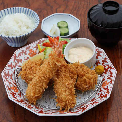 Ebi Fry (Deep Fried Shrimp) & Pork Loin Katsu Set / 海老ロースかつ膳 - Ginza Anzu