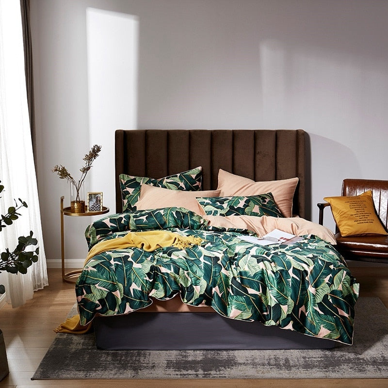 Peachy Leaf Duvet Cover Set (Egyptian Cotton)