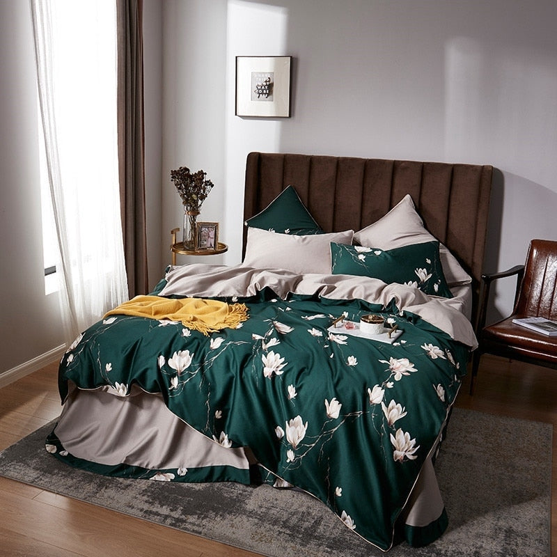 Lotus Green Duvet Cover Set (Egyptian Cotton)