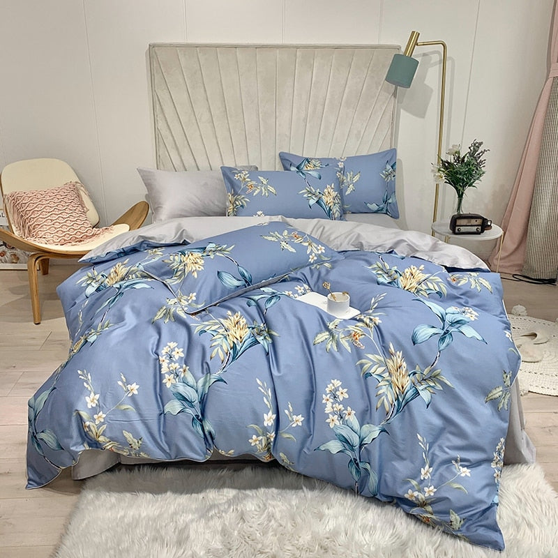 Serenity Blue Duvet Cover Set (Egyptian Cotton)