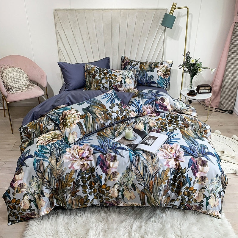 Blue Floret Duvet Cover Set (Egyptian Cotton)
