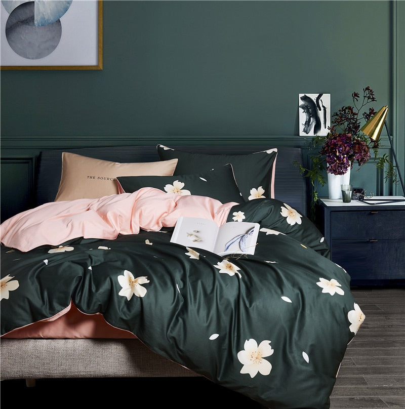 Deep Green Duvet Cover Set (Egyptian Cotton)