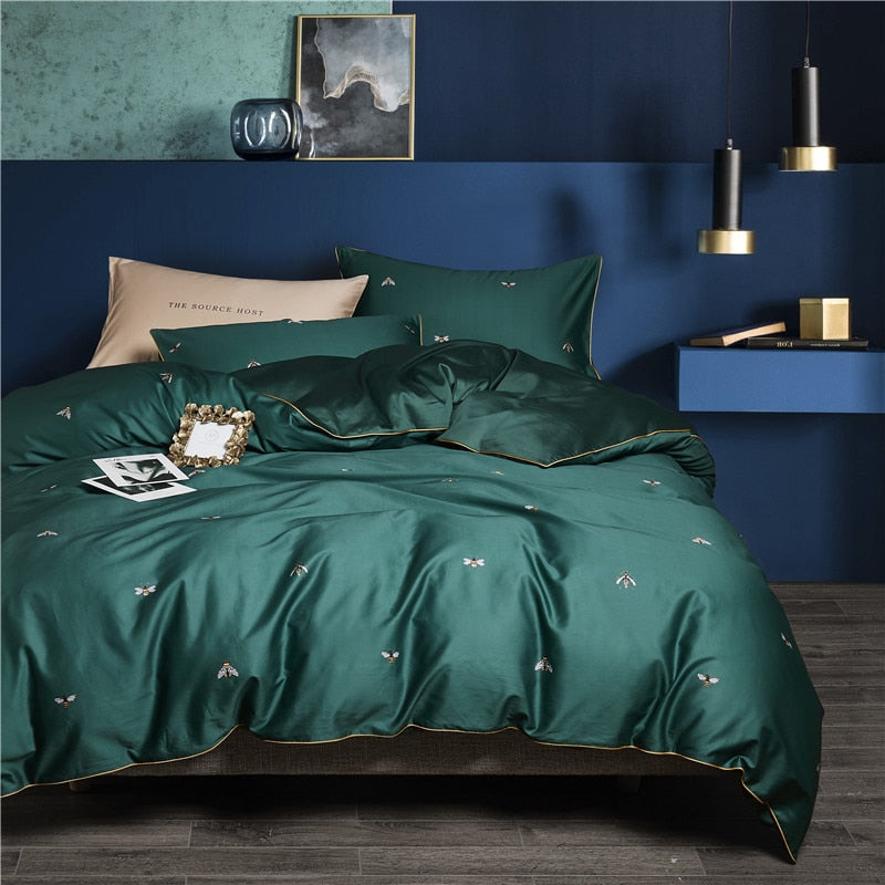 Emerald Bee Duvet Cover Set (Egyptian Cotton)