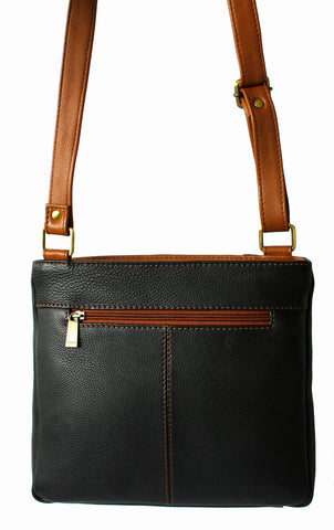 Small Leather Handbag with Vertical Zip Detail