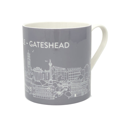 Mug: Bone China, NewcastleGateshead, Grey