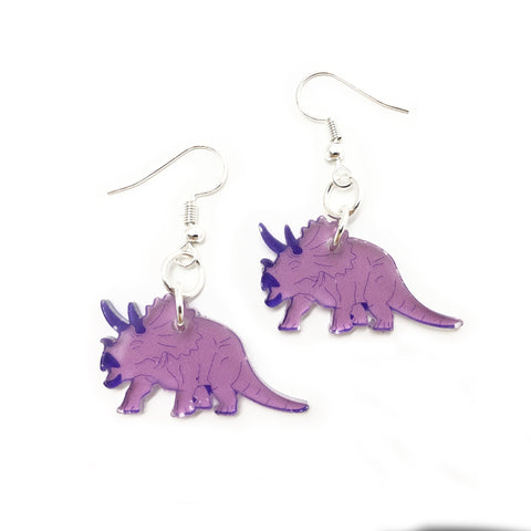Triceratops Acrylic Earrings