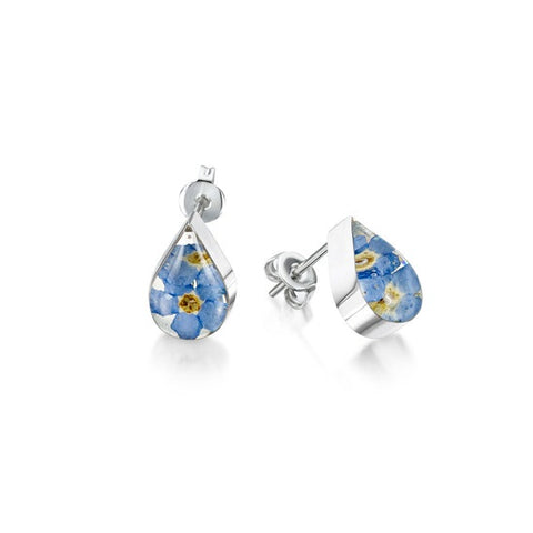 Shrieking Violet Forget-me-not Teardrop Stud Earrings