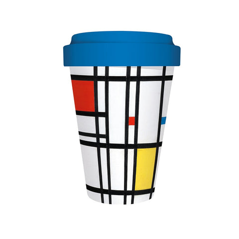 Travel Cup: Bamboo, Mondrian. Yellow, Blue and Red