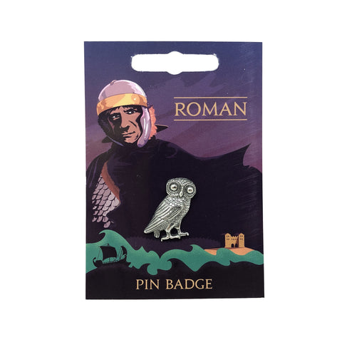 Pin Badge: Arbeia, Owl of Minerva, Pewter