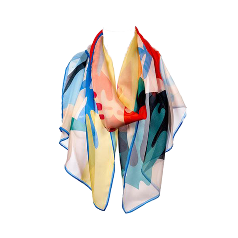 Abstract Chiffon Silk Scarf