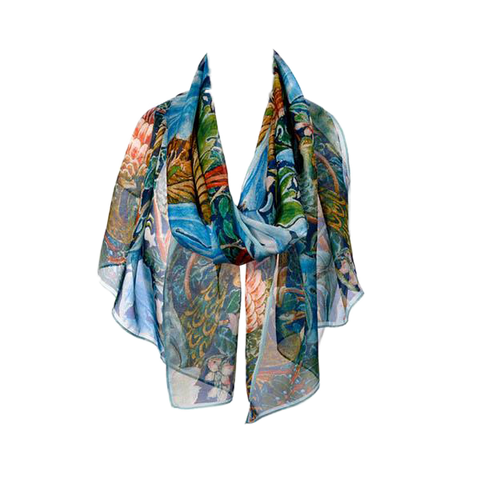 Arts and Crafts Birds Chiffon Silk Scarf