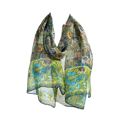 De Morgan Tiles Chiffon Silk Scarf