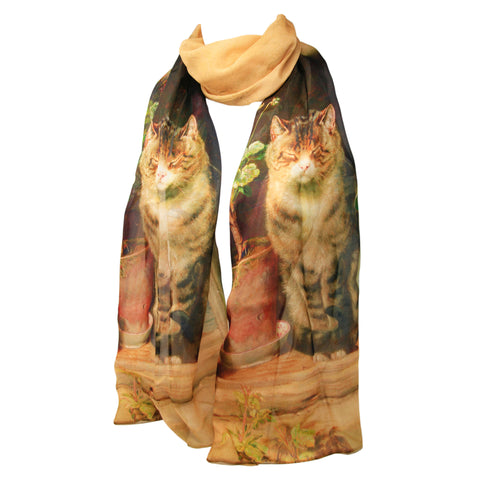 Blinking in the Sun by Ralph Hedley Chiffon Silk Scarf