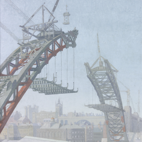The Building of the Tyne Bridge Greetings Card