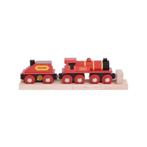 Bigjigs Wooden Red 4 Engine with Tender