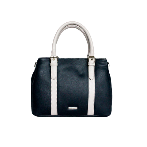 Navy and Dove Leather Handbag