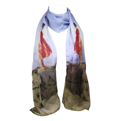 Scarf: Chiffon Silk, A Dark Pool by Laura Knight