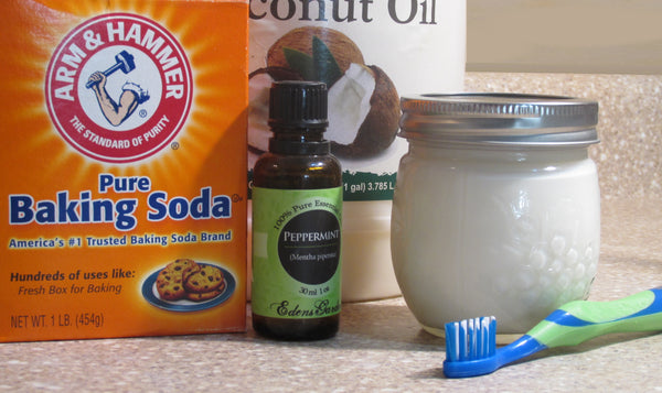 Homemade toothepaste recipe ingredients.