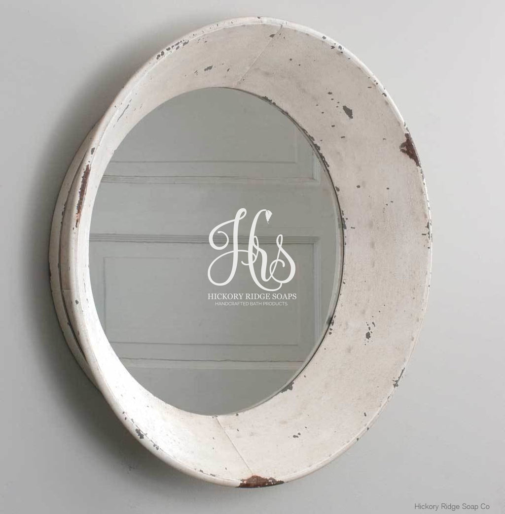 Dutch Round Distressed Wall Mirror Bathroom Decor