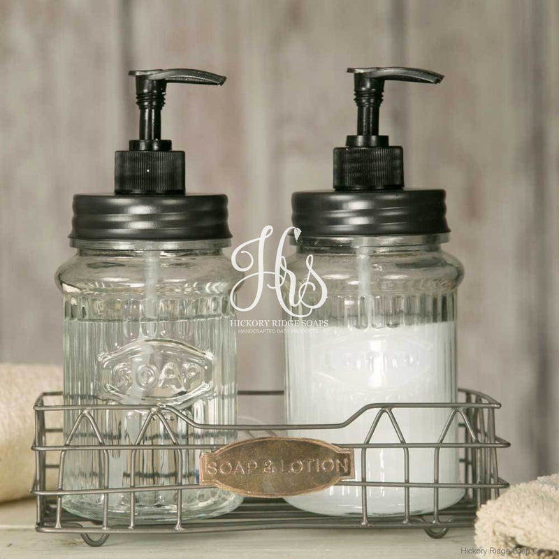 Hoosier Soap And Lotion Caddy With Glass Dispensers Soap Dispenser