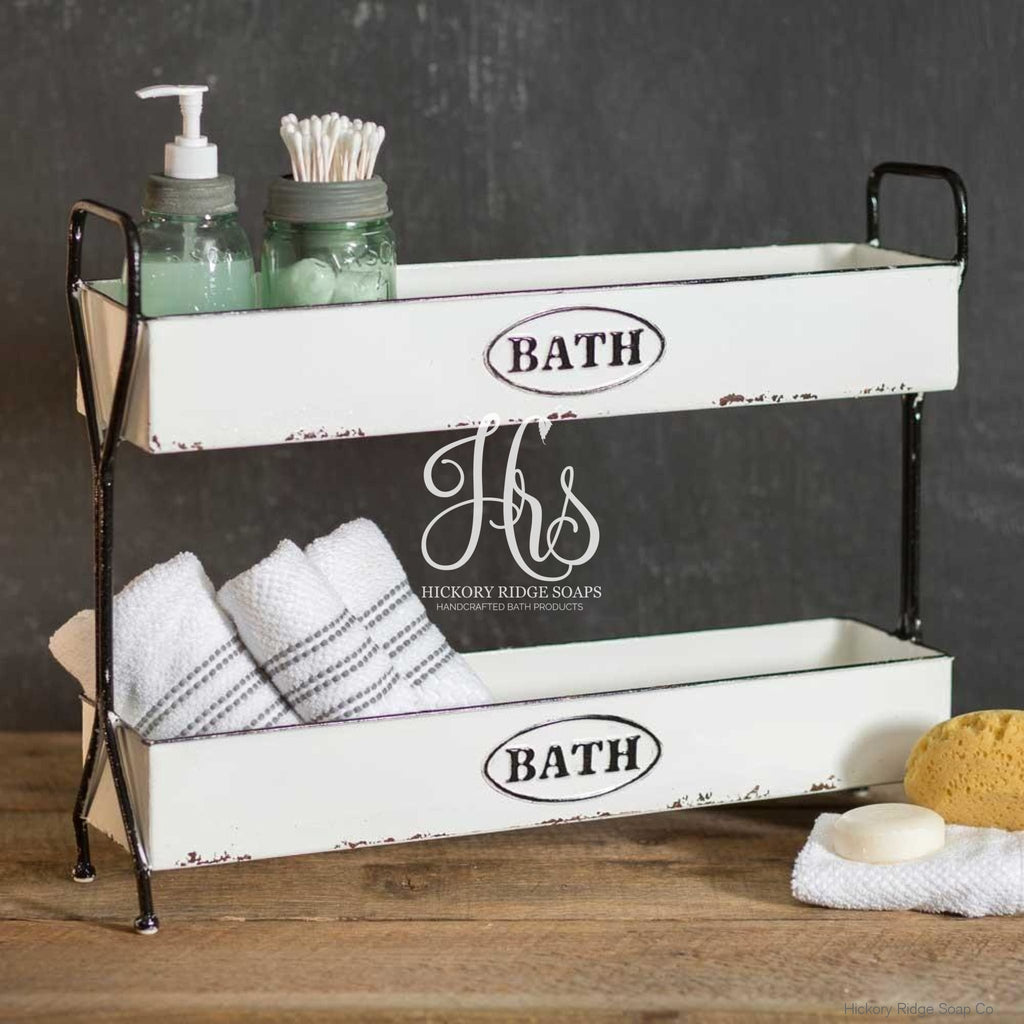 White Two Tier Bath Caddy Bath Decor