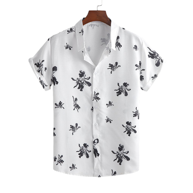 Contrast Floral Light Button Up