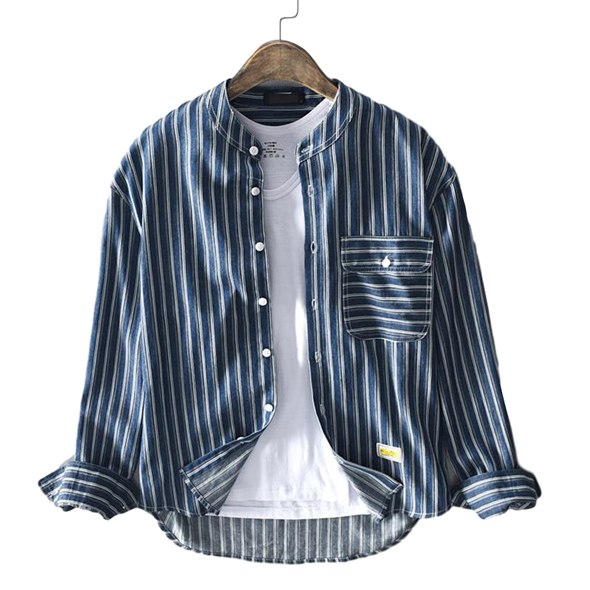Osier Striped Full-Button Henley