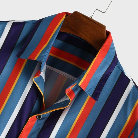Striped Multicolored Light Button Up