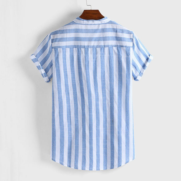 Birchwood Linen Full-Button Striped Henley