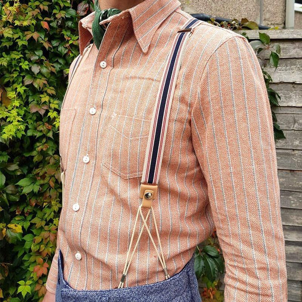Striped Two Button Cowhide Suspenders
