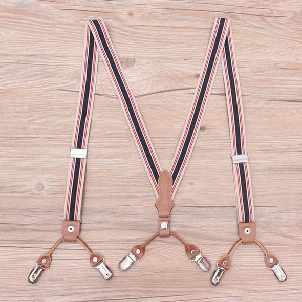 Striped Two Clip Cowhide Suspenders
