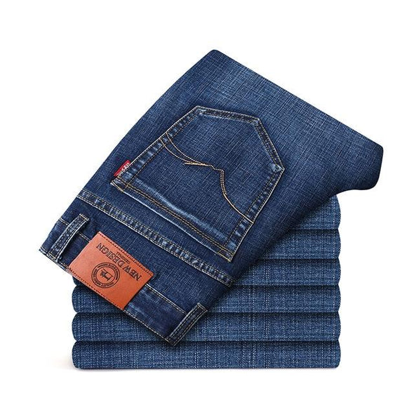 Slightly-Distressed Blue Jeans - Straight